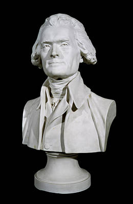 Sculpture - Bust Of Thomas Jefferson  Marble by Jean-antoine Houdon