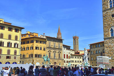 Photograph - Bustling Firenze Piazza by JAMART Photography