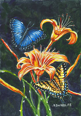 Painting - Butterflies And Flowers Sketch by Richard De Wolfe