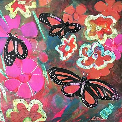 Mixed Media - Butterflies Are Free To Fly by Lee Bauman