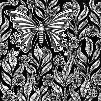Drawing - Butterfly Botanical Ink 2 by Amy E Fraser