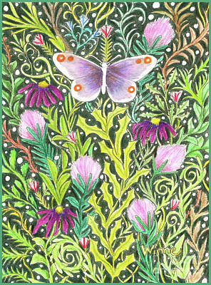 Painting - Butterfly In The Millefleurs by Lise Winne