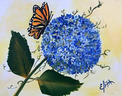 Wall Art - Painting - Butterfly Kisses Hydrangea  by Elisa Gabrielli