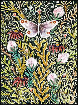 Mixed Media - Butterfly Tapestry Design In Mustard, Red And Green by Lise Winne