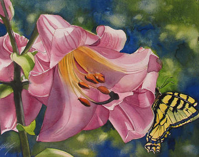 Painting - Butterfly Visit by Alfred Ng