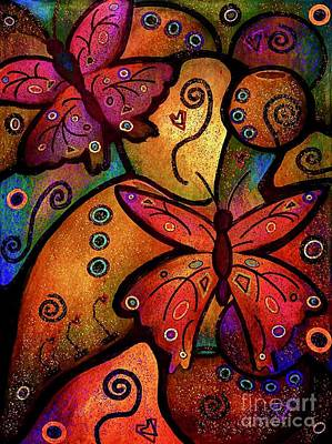Mixed Media Royalty Free Images - Butterfly Whimsy Colorful Abstract Art Royalty-Free Image by Laurie