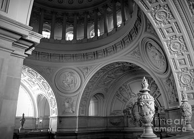 Photograph - Bw Dome Interior Architectural City Hall  by Chuck Kuhn