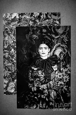Photograph - Bw Frida Kahlo Black White  by Chuck Kuhn