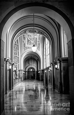 Photograph - Bw Hallway City Hall San Francisco  by Chuck Kuhn