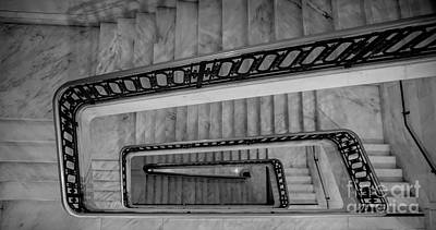Photograph - Bw Winding Stairs San Francisco City Hall by Chuck Kuhn