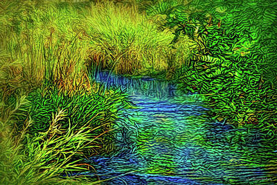Digital Art - By A Gentle Stream by Joel Bruce Wallach