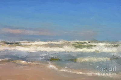 Digital Art - By The Sea Under Blue Skies by Lois Bryan