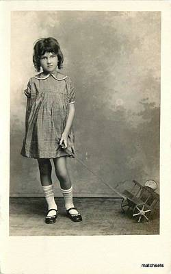 Route 66 - c 1910 Girl with Pull Toy Cart Humpty Dumpty by Celestial Images