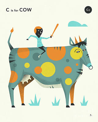 Illustration Digital Art - C Is For Cow 2 by Jazzberry Blue