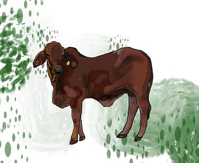 Child Wall Art - Digital Art - C Is For Cow by Joan Stratton