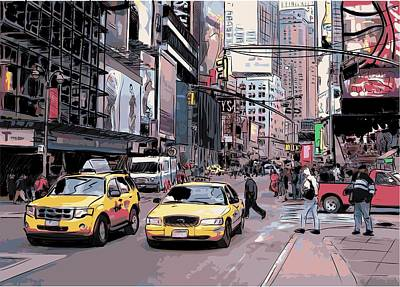 Drawing - Cab City New York by Stanley Mathis