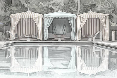 Photograph - Cabanas By The Pool by Alison Frank