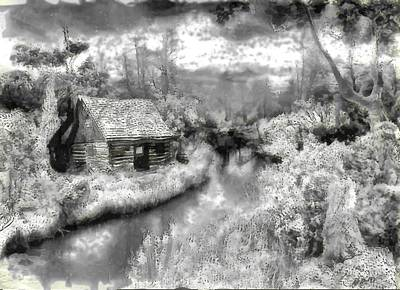 Digital Art - Cabin Along The Creek by Mario Carini