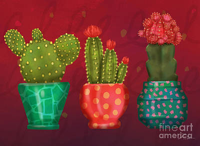 Mixed Media - Cactus Friends II by Shari Warren