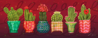 Mixed Media - Cactus Friends by Shari Warren