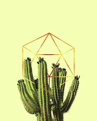 Mixed Media - Cactus - Minimal Cactus Poster - Tropical Print-  Botanical - Beige, Gold, Green - Modern, Minimal by Studio Grafiikka