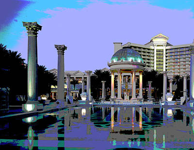 City Sunset Mixed Media - Caesars Palace Las Vegas by Charles Shoup