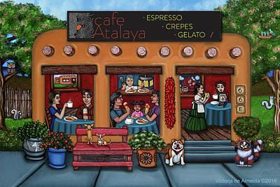 Painting - Cafe Atalaya Santa Fe by Victoria de Almeida
