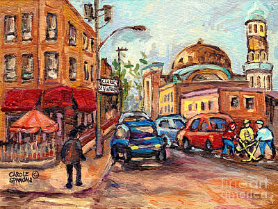 Painting - Cafe Corner Clark And St Viateur Mile End Montreal Street Hockey Boys C Spandau Quebec Winter Scene by Carole Spandau