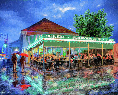 Mixed Media - Cafe Du Monde - New Orleans In The Rain by Mark Tisdale