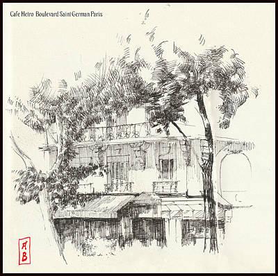 Drawing - Cafe Metro Paris by Javier Gonzalez de Castejon