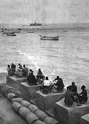 Photograph - Cafe On The Sea Shore Jaffa 1925 by Munir Alawi