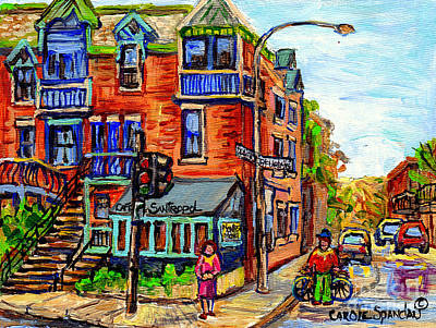 Painting - Cafe Santropol Corner Rue Duluth At St Urbain Montreal Cityscene Painting C Spandau Canadian Artist by Carole Spandau