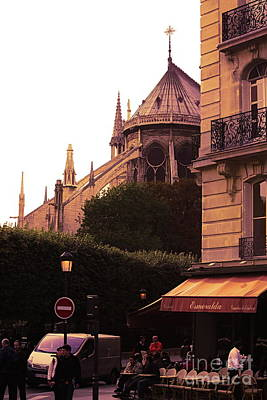 Photograph - Cafe View Notre Dame Paris  by Chuck Kuhn