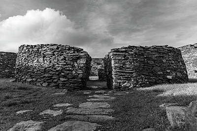 Photograph - Cahergall Stone Fort Ireland Black And White by John McGraw