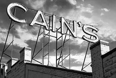 Photograph - Cain's Ballroom Vintage Neon In Black And White - Tulsa Oklahoma by Gregory Ballos