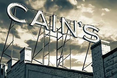 Mountain Landscape - Cains Ballroom Vintage Neon - Tulsa Oklahoma - Sepia by Gregory Ballos