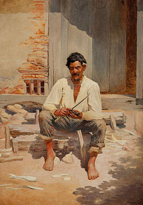 Painting - Caipira Cutting Tobacco by Almeida Junior