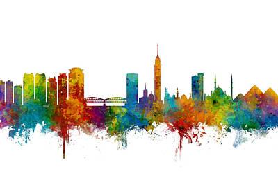 Digital Art - Cairo Egypt Skyline by Michael Tompsett
