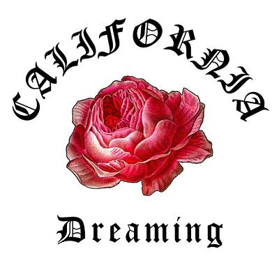 Little Mosters - California Antique Red Rose, California Dreaming Original, California Hardcore Streetwear by Kathy Anselmo