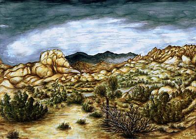 California Desert Landscape - Watercolor Art Painting Art Print