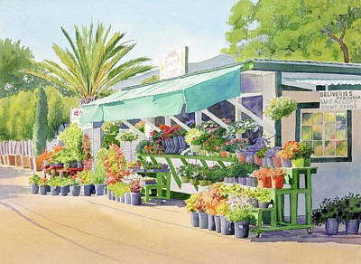 Painting - California Flower Stand by Mary Helmreich