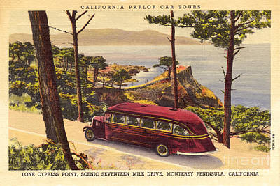 Photograph - California Parlor Car Tours, Near The Lone Cypress Tree Circa 1933 by California Views Archives Mr Pat Hathaway Archives
