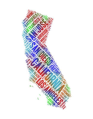 Digital Art - California State Word Art Map With Cities by Peggy Collins
