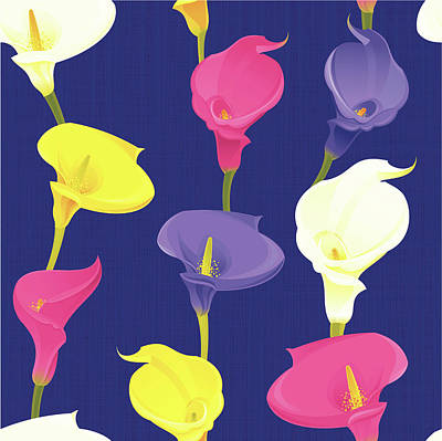 Blue Background Digital Art - Calla Lily Pattern Dark Background by Rusanovska