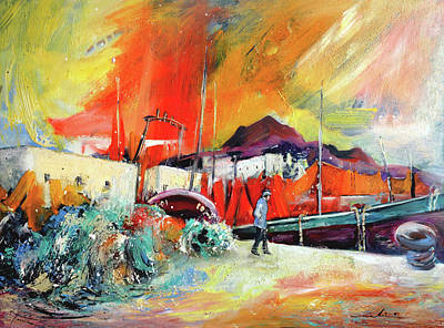 Painting - Calpe Harbour In Spain by Miki De Goodaboom