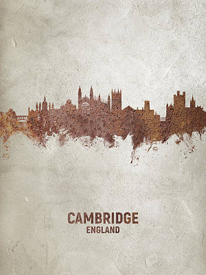 Digital Art - Cambridge England Rust Skyline by Michael Tompsett