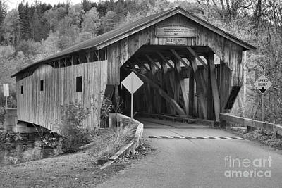 Photograph - Cambridge Junction Covered Bridge Black And White by Adam Jewell