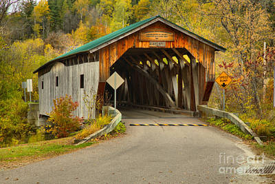 Photograph - Cambridge Junction Covered Bridge Fall Landscape by Adam Jewell