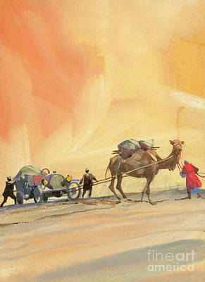 Painting - Camel Pulling A Vintage Automobile by Ferdinando Tacconi