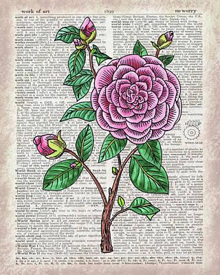 Nautical Animals - Camellia Dictionary Page Watercolor Art by Irina Sztukowski